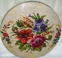 Vintage Large Round Tin Box Needlepoint Floral Design