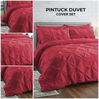 Pin tuck Duvet Cover Set Single Double King Size Bedding Set With Pillow Case
