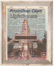Promthep Cape Lighthouse Thailand Altered Art Print Upcycled Vintage Dictionary
