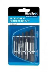 6 PCE Carbon Steel Screw Extraction Set 3-25mm Removes Screws & Bolts