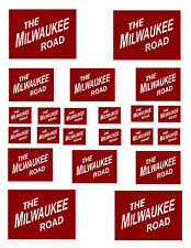 "SHEET OF MILWAUKEE ROAD STICKERS   (8.5"" X 11"") HO scale"
