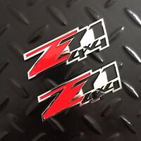 New - 2x Z71™ 4x4 Chrome & Red Emblem Badge Logo Chevy GM GMC Silverado Sierra