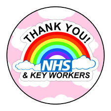 Thank You NHS Keyworkers Stickers Labels Pink Rainbow Sweet Cones Gifts Seals