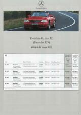 Mercedes-benz R 129 280 SL, 320 SL, 500 SL, 600 SL-lista de precios 2000