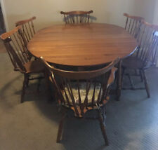 Vintage S Bent Bros. Colonial Dining Table & 6 Hard Rock Maple Colonial Chairs