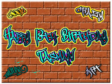 Graffiti Edible Icing Cake Image Personalised Party A4 Decoration Topper