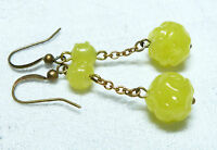 Art Deco yellow Uranium glass flower bead earrings to match old 1930s necklaces