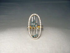 Stunning Estate 14K Yellow Gold Blue Sliding Diamond Movable Cocktail Ring