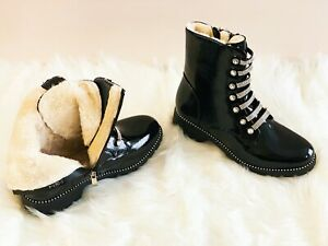 Womens Chelsea Ankle Boots Studs Chunky Low Heel Diamante Fur Lined winter shoes