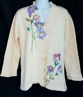 Storybook Knits Cardigan Sweater Cottagecore Floral Embroidered Beaded Sequin S