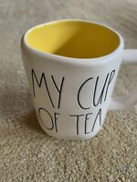 Rae Dunn By Magenta - MY CUP OF TEA - LL WHITE W Yellow INTERIOR Coffee Mug