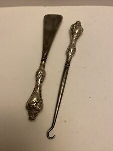 SILVER handled Vintage Shoe Horn and Button Hook