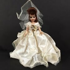 "Vintage Bride Doll 1950s Jointed Plastic Sleep Eyes Wedding Cake Topper 8"" Tall"