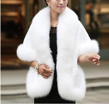 Winter warm  Best Rex Rabbit Cape with  Real Fox Fur  Trim  all around WHITE