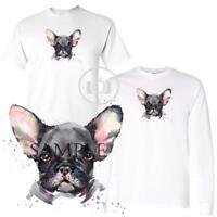 French Bulldog Watercolor Dog Breed Art Short / Long Sleeve White T Shirt