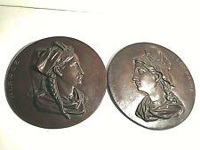 """2 bas-reliefs patriotiques 1900 """"Alsace & Lorraine""""  fonte patinée type bronze"""
