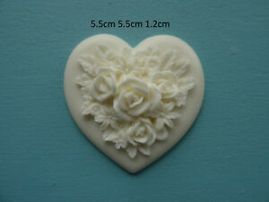 Decorative chic roses on heart resin furniture mouldings onlay applique RH1