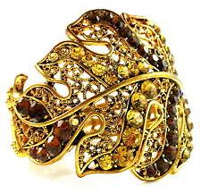 USA Bracelet gold brown rhinestone CRYSTAL statement leaf bangle cuff retro NEW