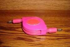 Mini Stereo 4 ft Retractable Auxiliary Cable 3.5mm male to male plug PINK * NEW