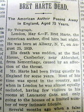 1902 newspaper wth front page display announcing THE DEATH of author BRETT HARTE