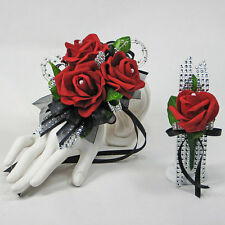 Glamour Red  Foam Rose on Black  Prom Corsage & Boutonniere Combo