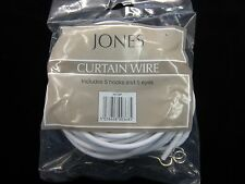 5mts of Curtain wire Jones stretch spring net voile fabric wire + 5 hooks 5 eyes