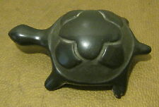 BLACK Pottery TURTLE Signed! MARGARET N(ARANJO) Santa Clara Pueblo NICKED Foot