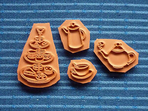 Tea Time Themed Rubber Stamps - Backed with cling foam
