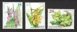 REP. OF CHINA TAIWAN 2018 WILD ORCHID SERIES 1 COMP. SET OF 3 STAMPS IN MINT MNH