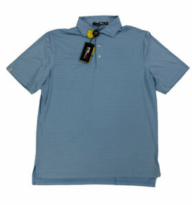 NEW RLX Ralph Lauren Short Sleeve Golf Mens Polo Shirt Light Blue Striped Mens L