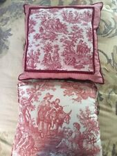 Pair Two Waverly Red Toile and Gingham Country Life Pillows