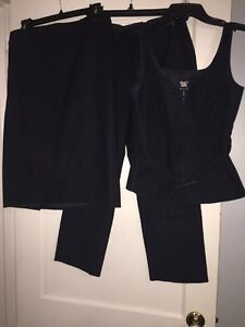 Woman's Worth Size 6 Navy Blue 3-piece Outfit Set-Pencil skirt/Vest/Ankle Pants