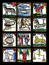 12 zodiac signs art print hororscope astrology birth symbol vintage reproduction