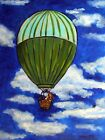 BASSET HOUND in a HOT AIR BALLOON dog art print 11x14
