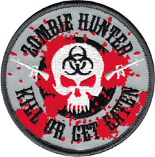 110004 Zombie Hunter Kill or Get Eaten Skull Biohazard Embroidered Iron On Patch