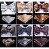 HISDERN Paisley Men Woven Silk Wedding Self Bow Tie handkerchief Set#RF2