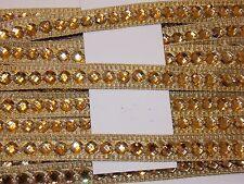 Lentejuelas oro 16mm Joya Indio Pastel de Bodas Baile Disfraz Cinta de Malla de diamantes de imitación