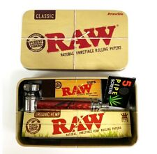 Raw Rolling Tin Set - Raw Organic Rolling Papers, Metal Pipe, Raw Tips Christmas