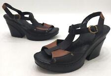 Born Shoes Womens Black/Brown Leather Ankle Strap Platform Heels Size 9M