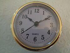 "2-1/2"" (65mm) QUARTZ CLOCK FIT-UP/Insert, Arabic Numeral, White Face, Gold Trim"
