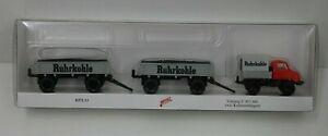 Wiking H0 037183 Unimog U 411 mit zwei Kohleanhängern  Eurotrain  NEU & OVP