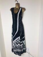 Satsuma London Women Black And White Sleeveless Long Dress Size 12