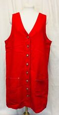 Vintage 1990's Red Denim Cotton Dress Large Sleeveless Full Button Front