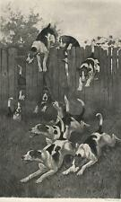 New listing ANTIQUE RUNNING TERRIER DOGS HUNTING HUNT HUNTER RUN JUMPING FENCE GRASS PRINT