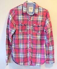 ABERCROMBIE & FITCH Women Top Clothes Shirt PINK PLAID Size S Long Sleeves Youth