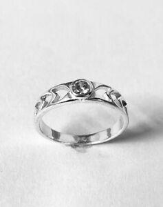 White Topaz Gemstone Vintage Handmade 925 Sterling Silver Ring Size 7_2.381