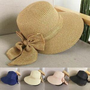 women Wide Brim Hat Floppy Beach Straw Bucket Sun Protection Visor Caps Fashion