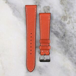 Genuine Goatskin Leather Watch Strap - Orange - 18mm/19mm/20mm