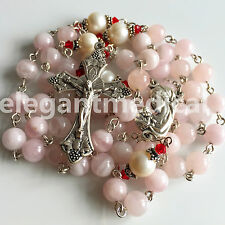 Large 10mm REAL Pearl Pink Quartz Beads 5 DECADE Rosary CROSS gifts necklace