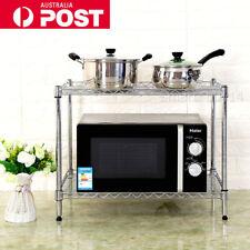 2 Layer Steel Microwave Shelf Stand Rack Kitchen Storage Organizer Silver Wire I